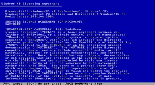 Persetujuan install Windows XP