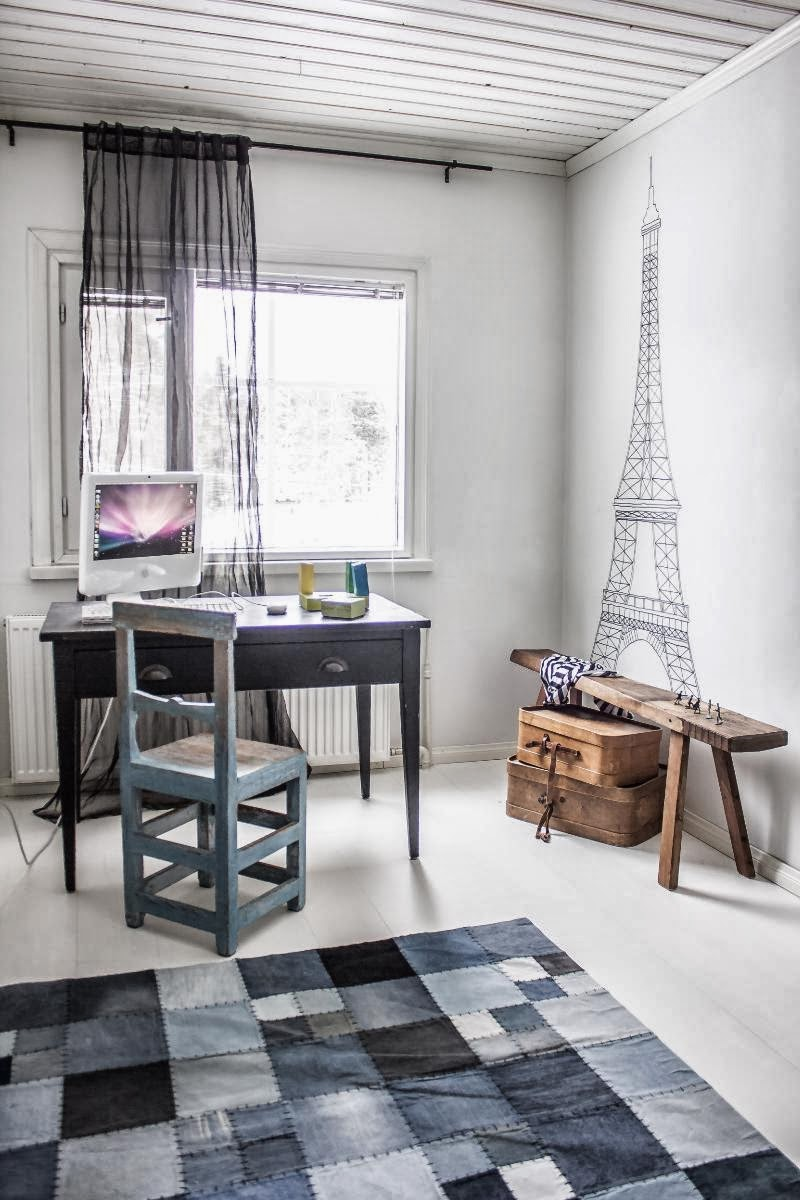 amenajari, interioare, decoratiuni, decor, design interior, shabby chic, scandinav, alb, rustic, birou