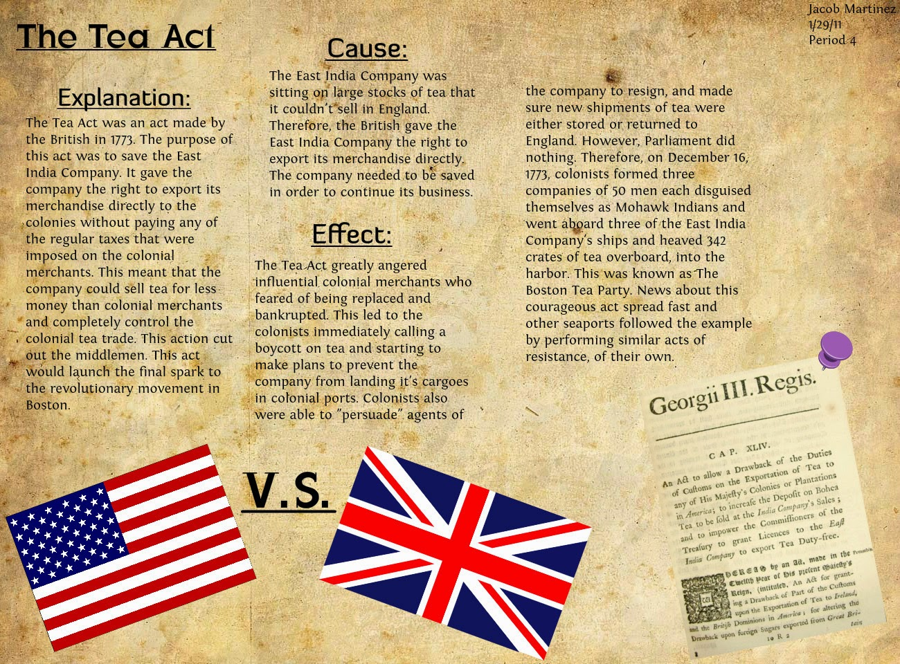 the tea act of 1773 essay The boston tea party has its roots in the tea act of 1773 the boston tea party was served as a protest against taxation on the night of december 16, 1773, samuel adams and the sons of liberty boarded three ships in the boston harbor and threw crates of tea overboard.