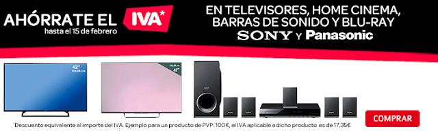 Ahórrate el IVA televisores y barras de sonido Sony y Panasonic