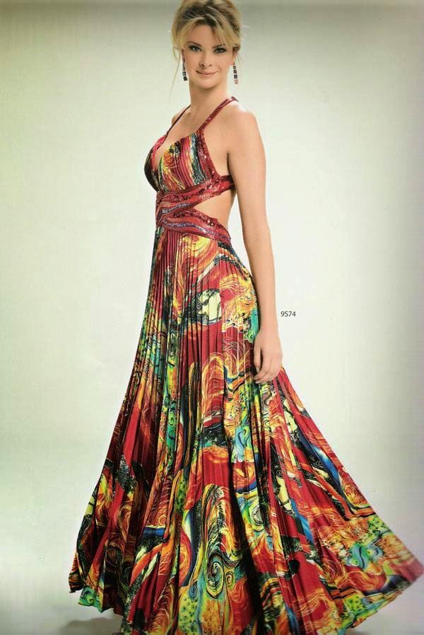vestido longo transpassado em cetim colorido - modelos e fotos