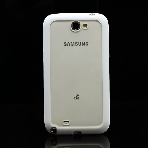 Hybrid Case : TPU Edges and Transparant Back Case Samsung Galaxy Note 2 / II N7100 - White
