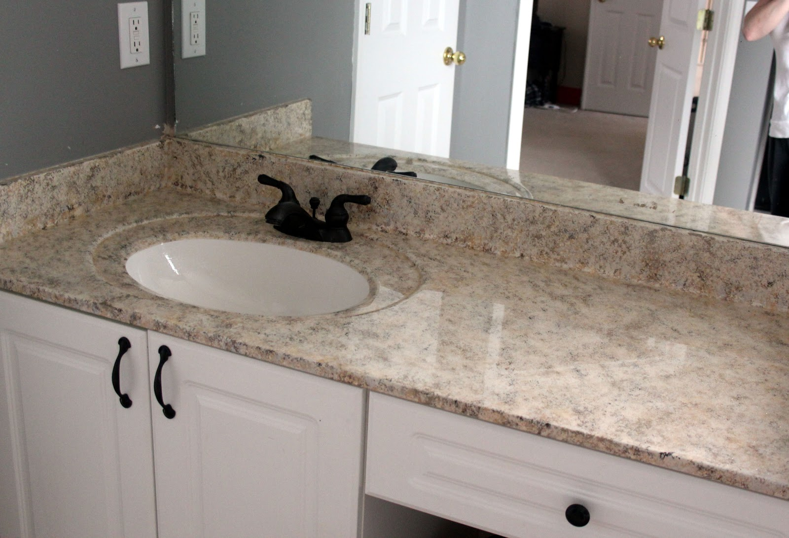 My enroute life painted faux granite countertops master for Bathroom countertops