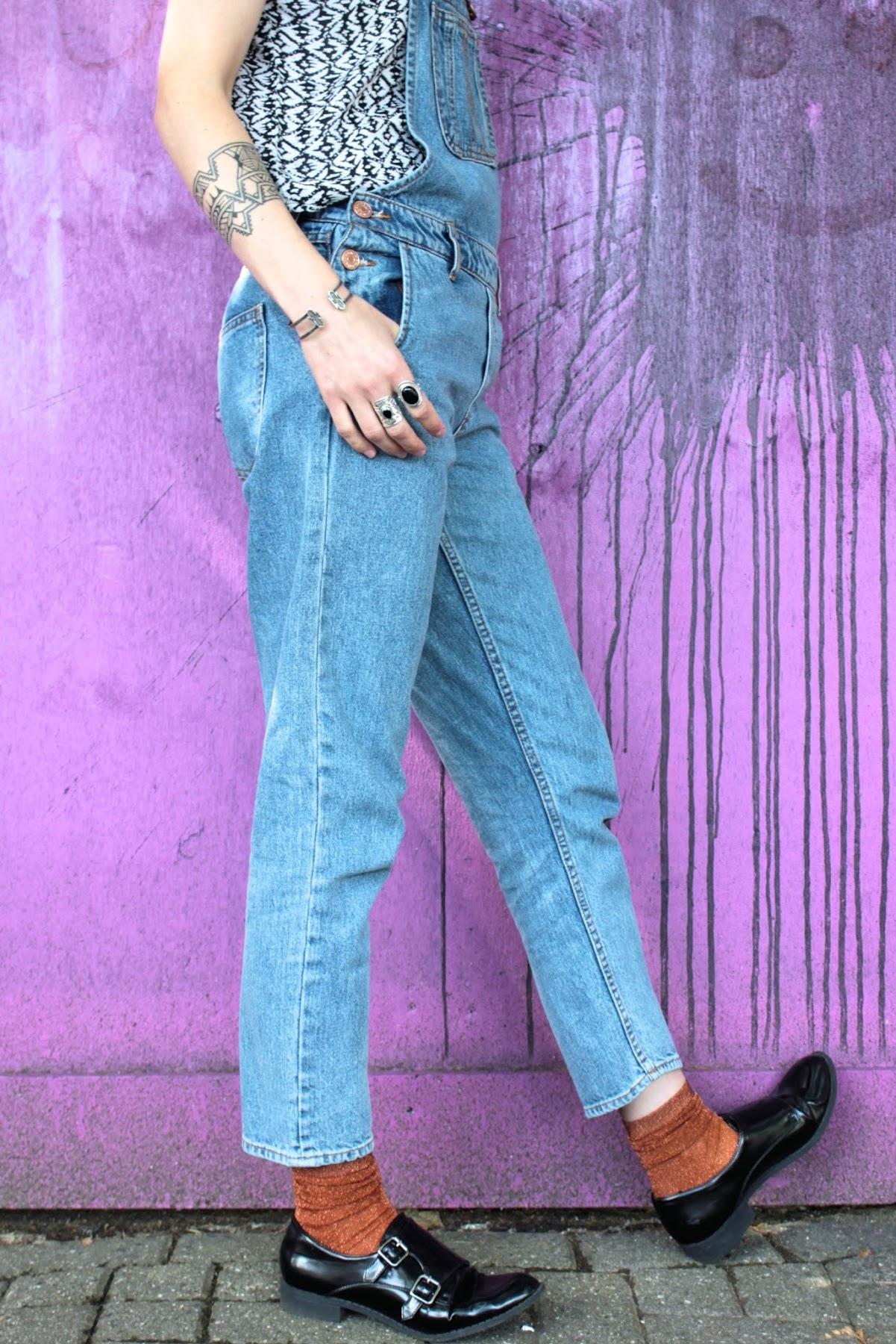 dungaree jeans sparkly copper socks Monki lexieblush.co.uk