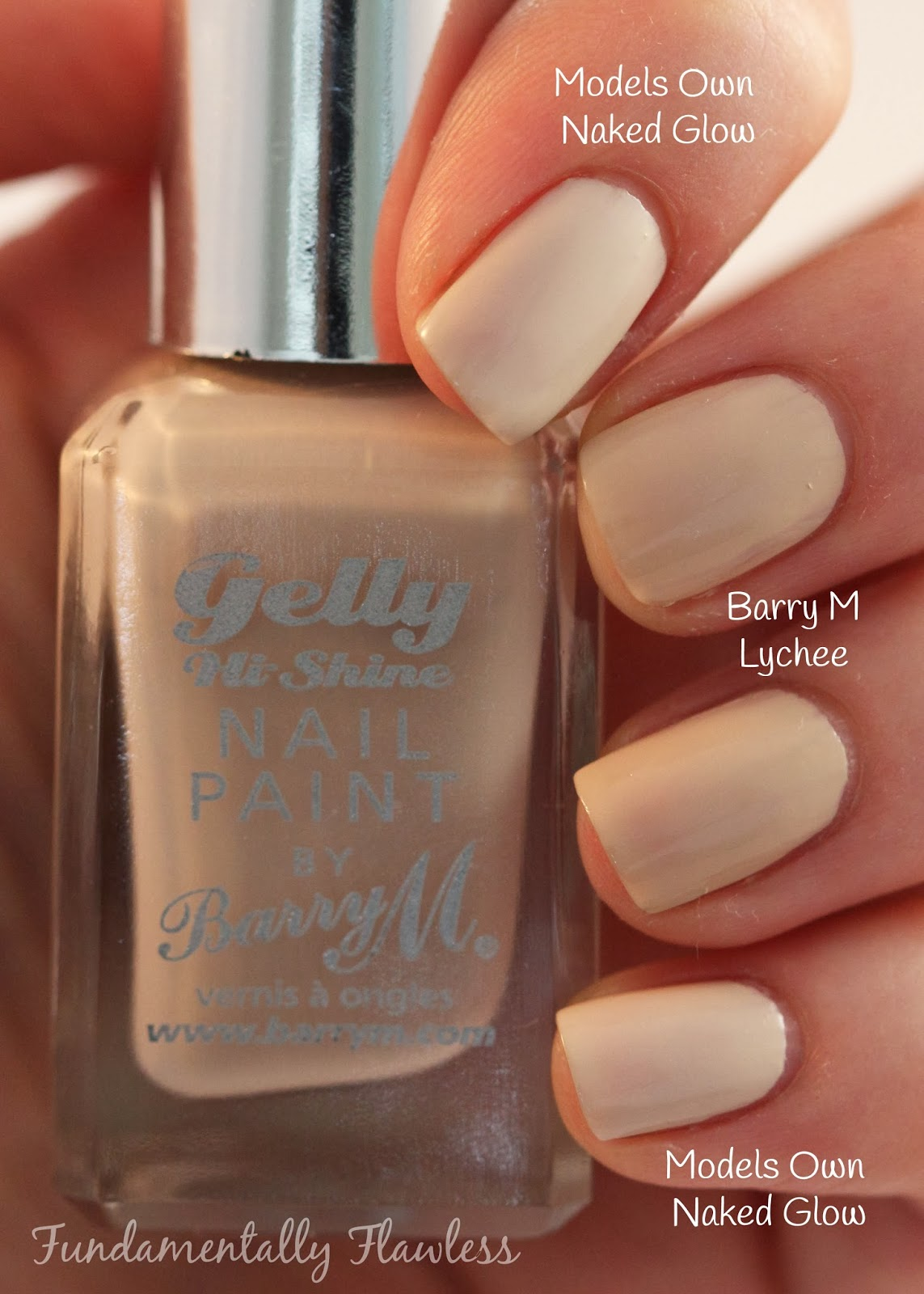 Models Own HyperGel Naked Glow vs Barry M Gelly Lychee comparison