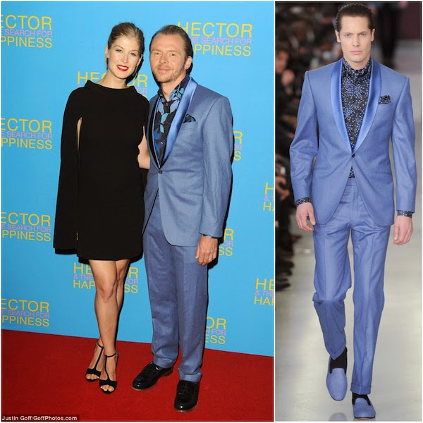Rosamund Pike and Simon Pegg wears blue Richard James Savile Row shawl collar suit and floral shirt at Hector And The Search For Happiness London Premiere August 2014