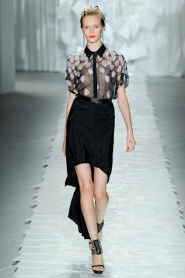Jason+Wu+Spring+2012 +Balck+and+white+petal+print+sheer+collared+shirt+and+black+asymetric+hem+skirt Sheer Expressions