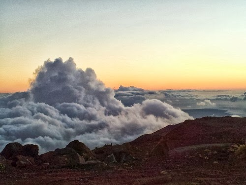 Above the clouds at top of Haleakala Mountain