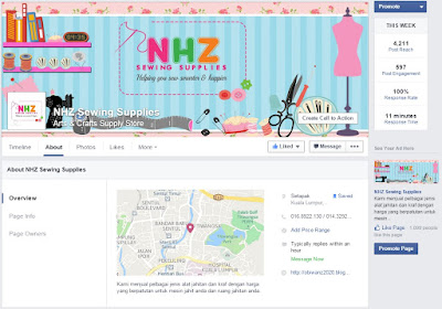 facebook fan page NHZ Sewing Supplies