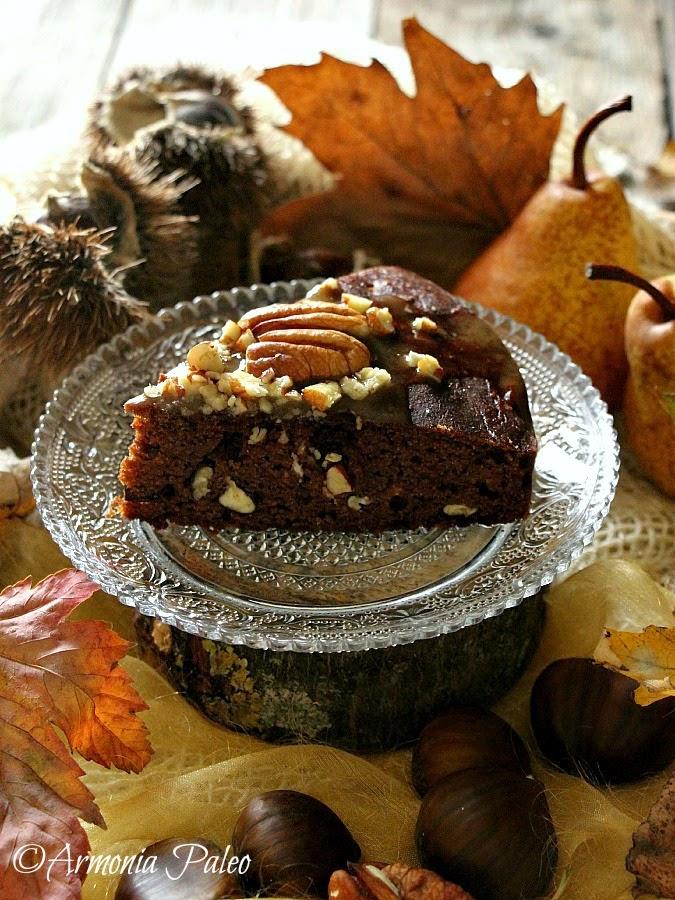 Torta di Castagne e Pere con Noci Pecan e Caramello al Miele di Armonia Paleo