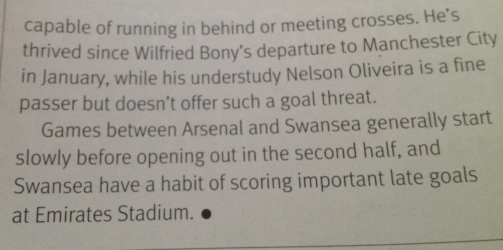 We are premier league 2015 michael cox bang on the money again in his preview of arsenal swansea before gomis late winner nvjuhfo Images