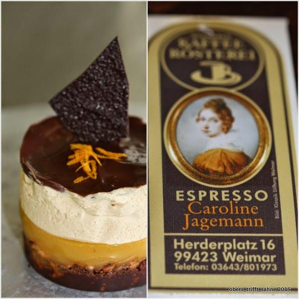 Dessert mit Kaffee und Orange