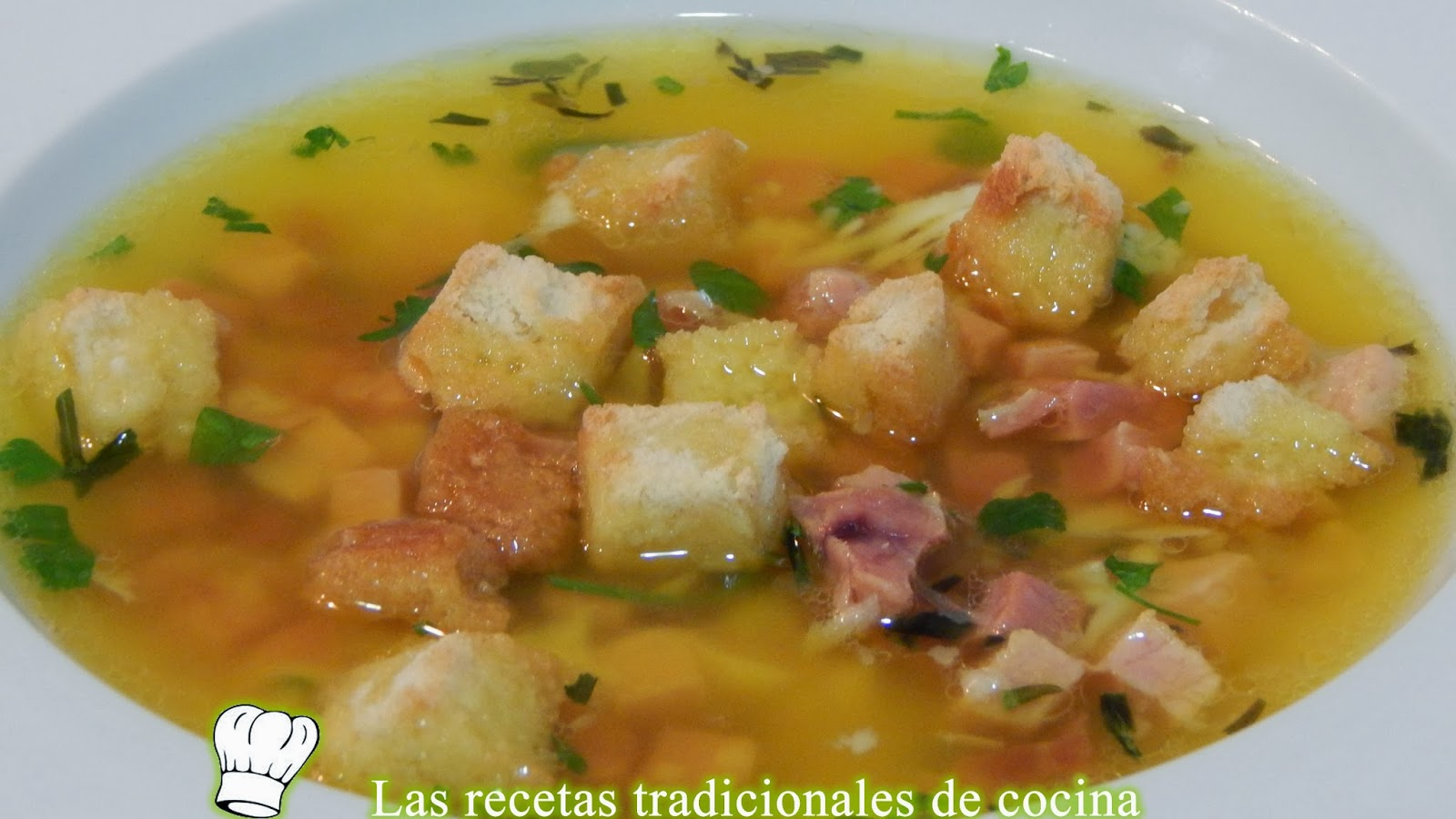 Receta fácil de sopa jamón