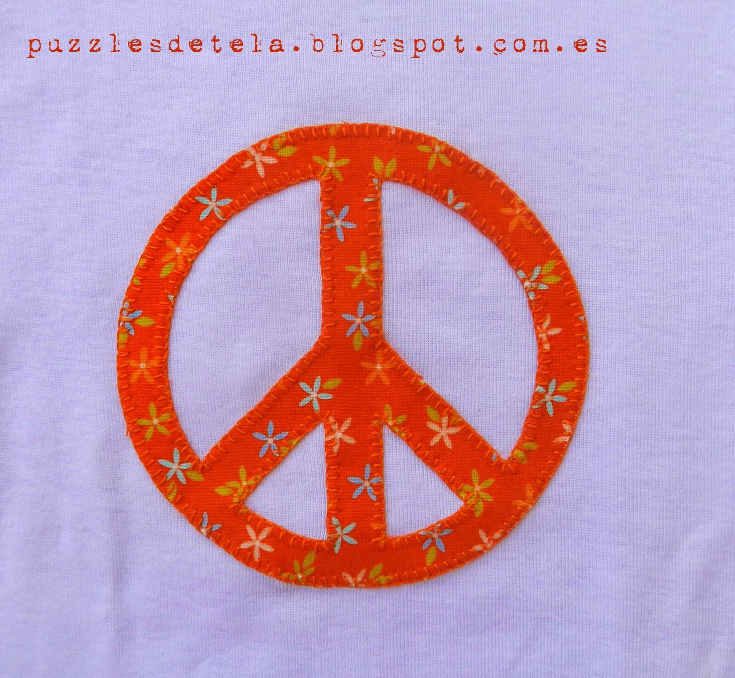 Vintage, Peace, Paz, patchwork, camiseta patchwork, Puzzles de tela, camiseta peace, camiseta Vintage, camiseta patchwork niña, aplicaciones patchwork