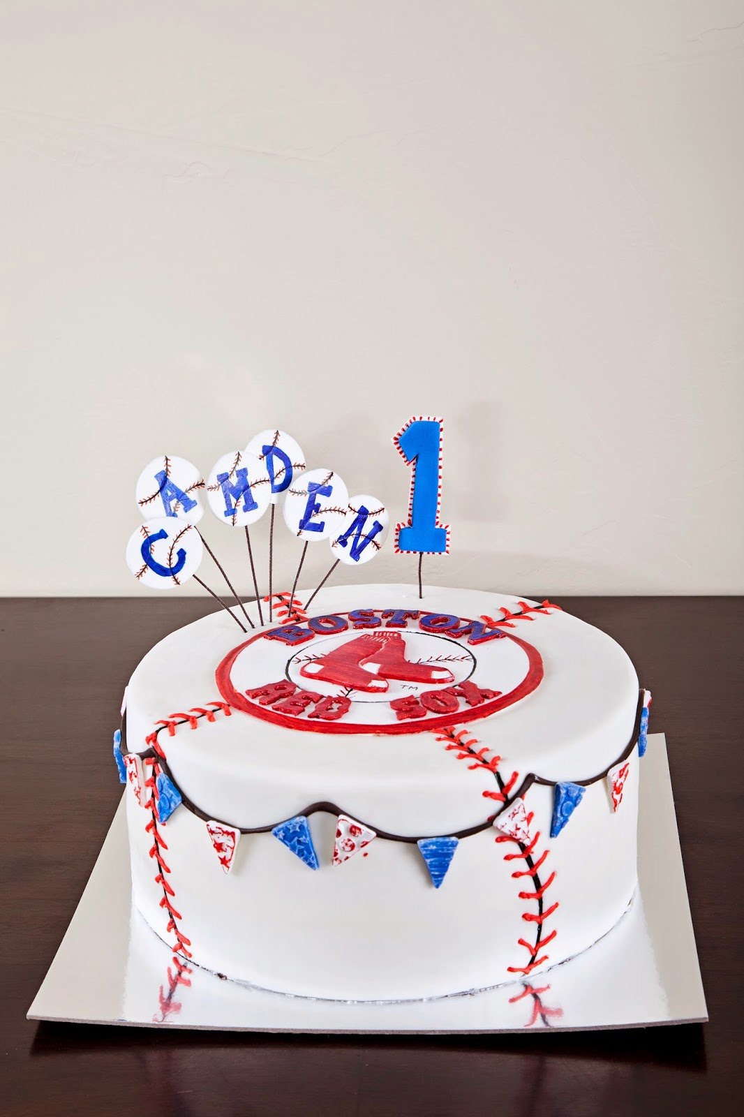Delectable Cakes 1st Birthday Boston Red Sox Baseball Cake
