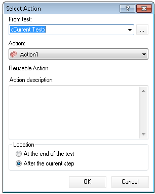 Select Action window in UFT