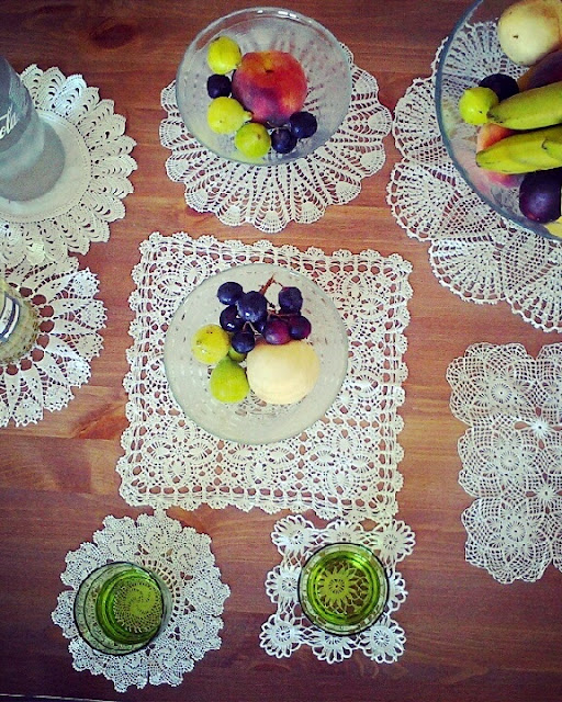 vintage crochet party decor