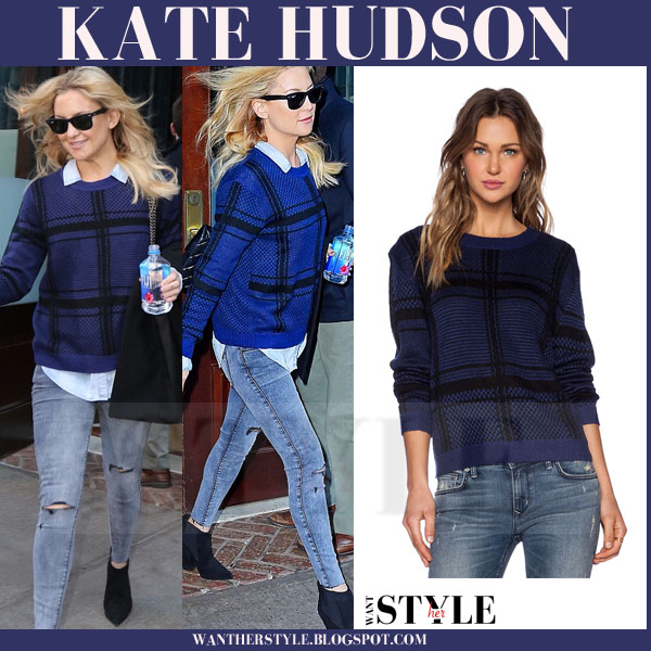 Kate Hudson in blue knit sweater and skinny jeans what she wore streetstyle