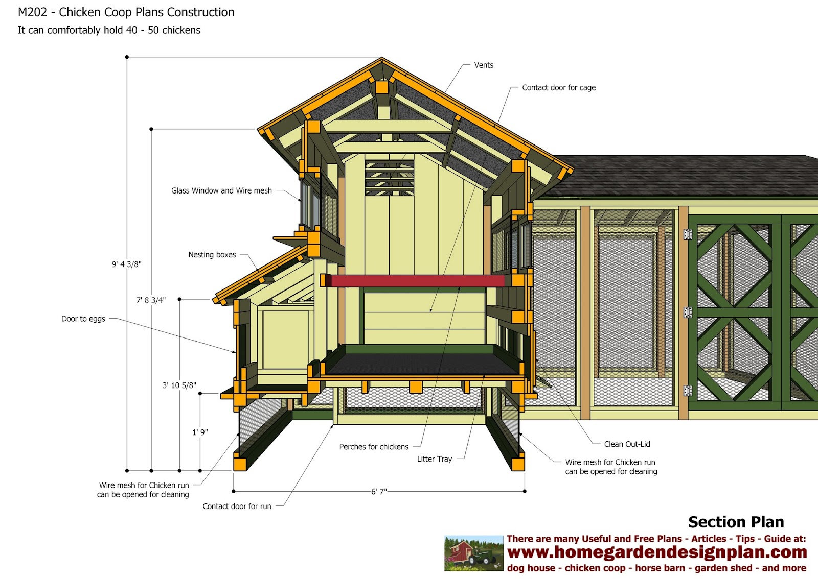Home garden plans m202 chicken coop plans construction chicken coop design how to build a for Hen house design plans