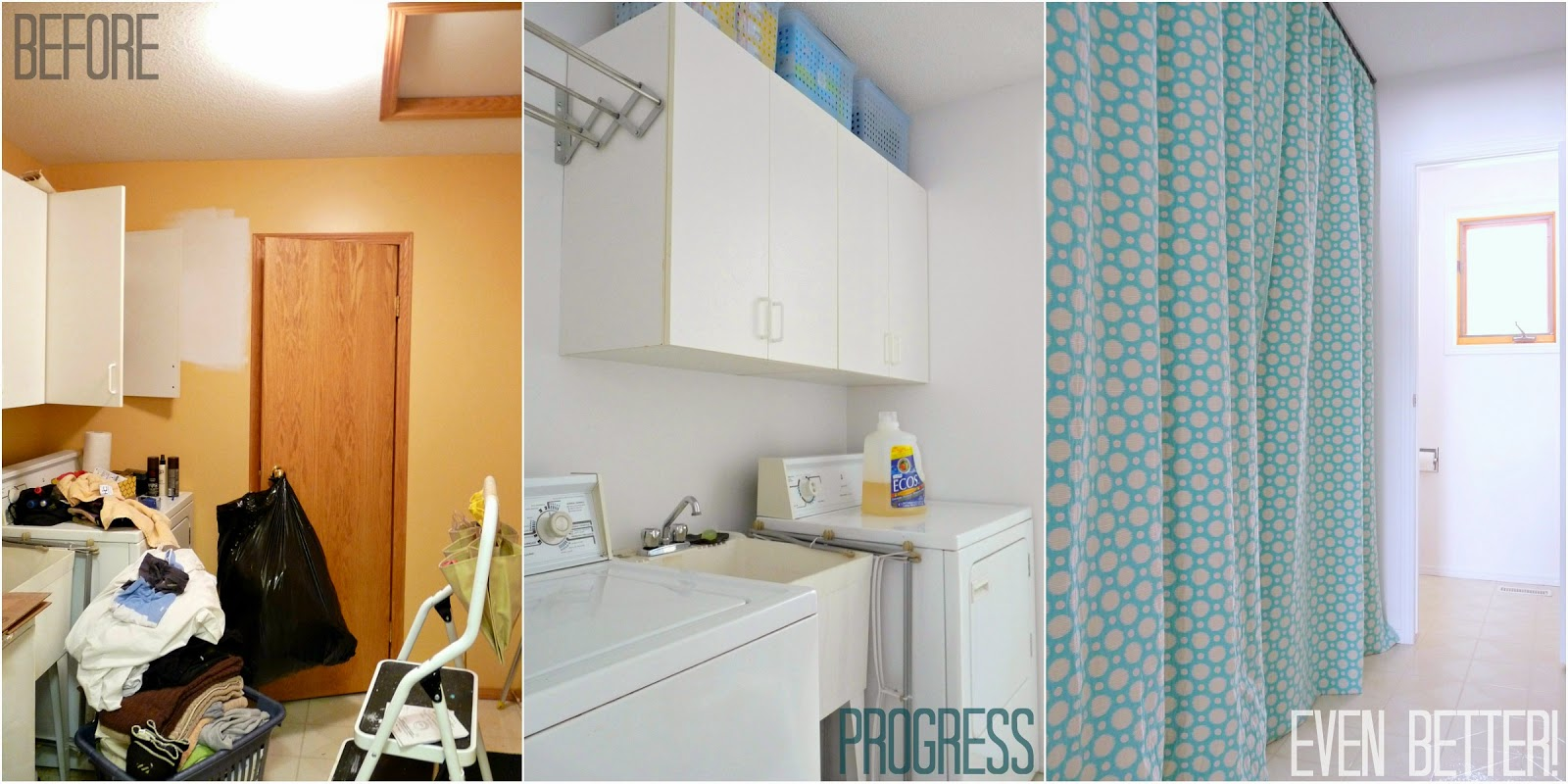 Hide a washer and dryer with easy diy gathered laundry room curtains on a track dans le lakehouse