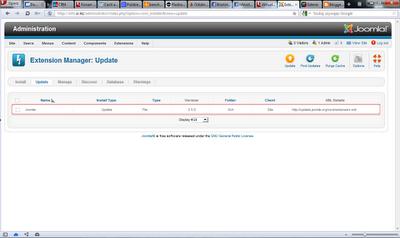 Extension Manager z widoczną dostępną aktualizacją Joomli do wersji 2.5