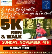 Brickey 5k in W Waterford... Sun 4th Nov 2018
