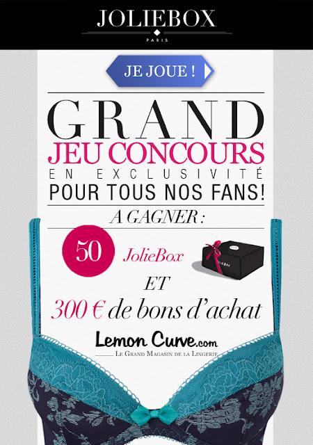 Jeu concours JolieBox: 50 jolieBox et 300€ de bons d'achat Lemon Curve