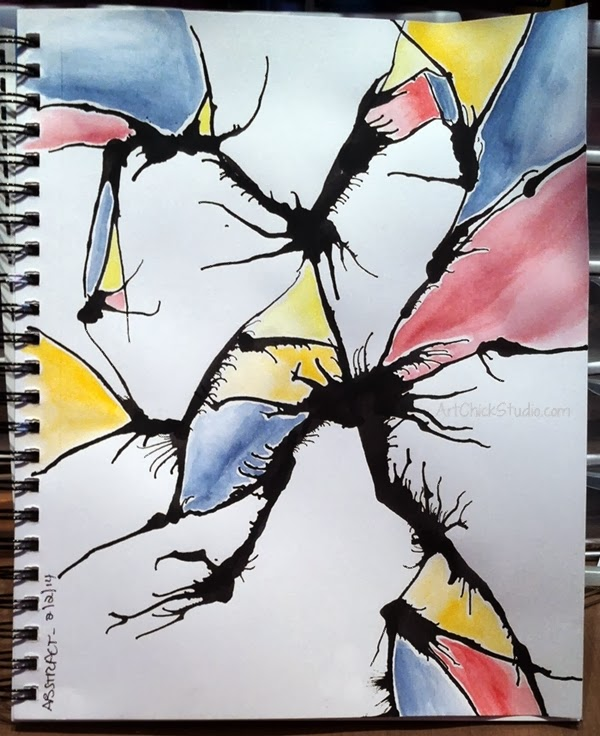 Broken Glass Watercolor Art Journal Page