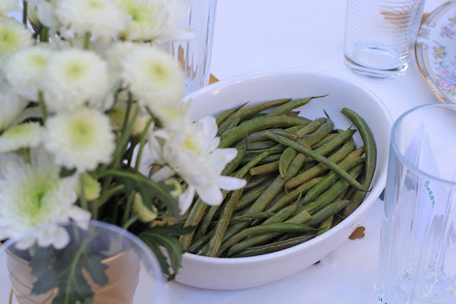 green beans served at outdoor dinner party | Cordier Event Planning