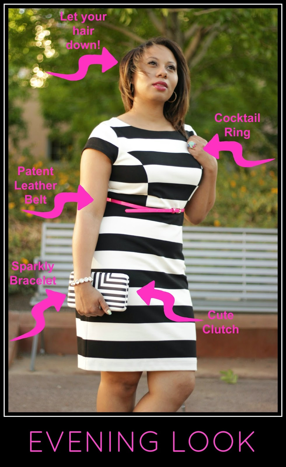 stripe dress & pink belt