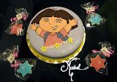 Tarta y galletas Dora.