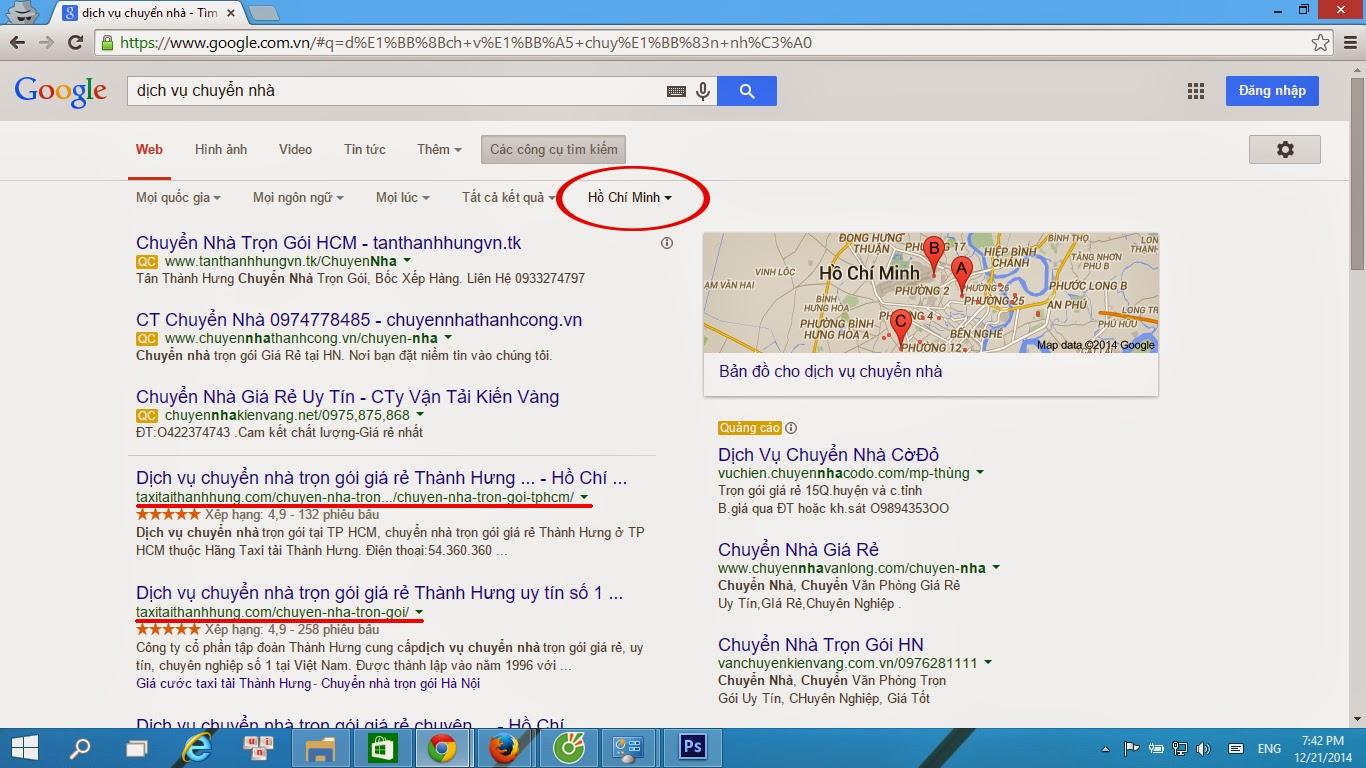 Kết quả tìm kiếm của Google phụ thuộc vào vị trí địa lý