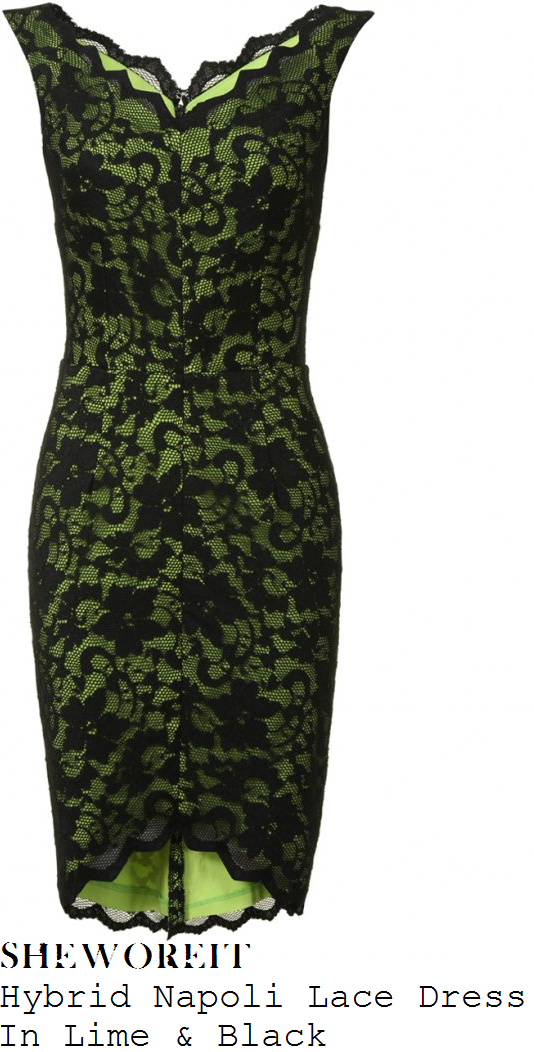 lucy-mecklenburgh-neon-lime-green-and-black-floral-lace-sleeveless-v-neck-dress-towie