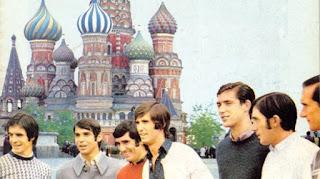 Rojo I, Arieta II, Zubiaga, Rojo II, Villar, Igartua y Aranguren,en la Plaza Roja de Moscú, en la Recopa 1973