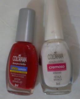 esmalte colorama batom vermelho petala branca
