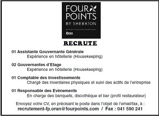 إعلان توظيف في فور بونت شيراطون بوهران