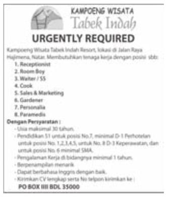 Lowongan Kerja Kampoeng Wisata Tabek Indah Lampung Terbaru Februari 2013