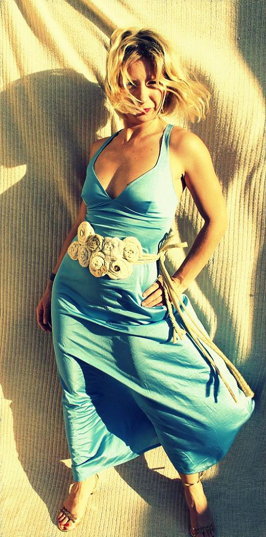 wedding outfit vintage blue sky dress handmade belt