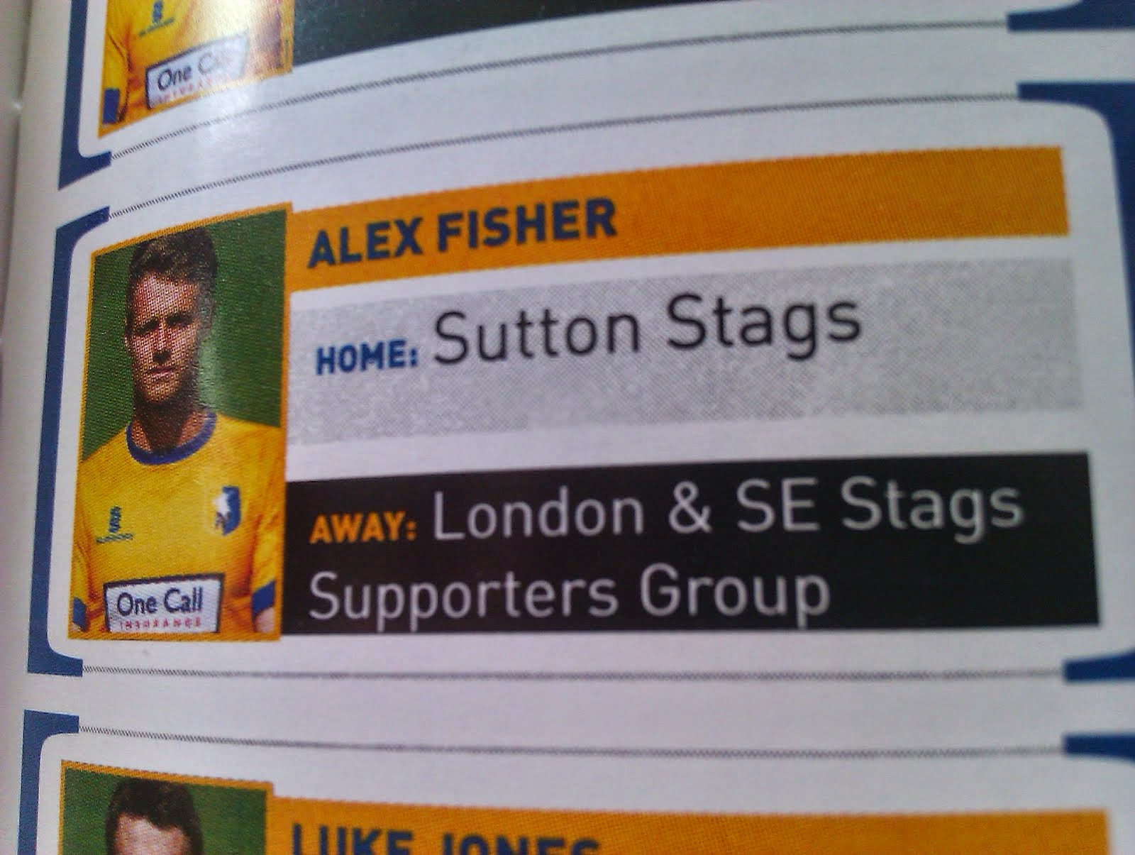 London & South East Stags are sponsoring Alex Fisher's away shirt in 2014/15