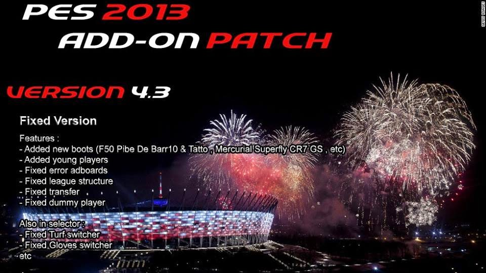 PES 2013 Add-on Patch v4.3 for PESEdit 6.0 by Kalasnikov Productions