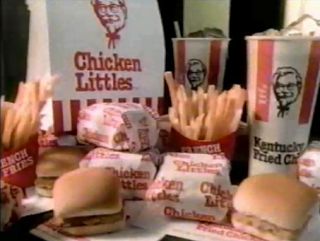 Kentucky Fried Chicken KFC historic picture of Chicken Littles 1986 sandwich fries