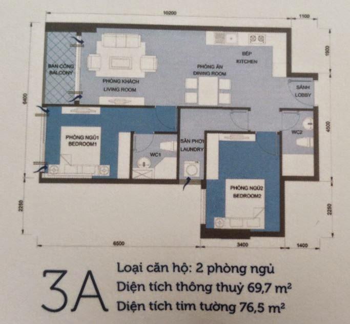 Căn hộ Vinhomes Central Park 6 - căn hộ số 3A - 76,5m2 - 2PN