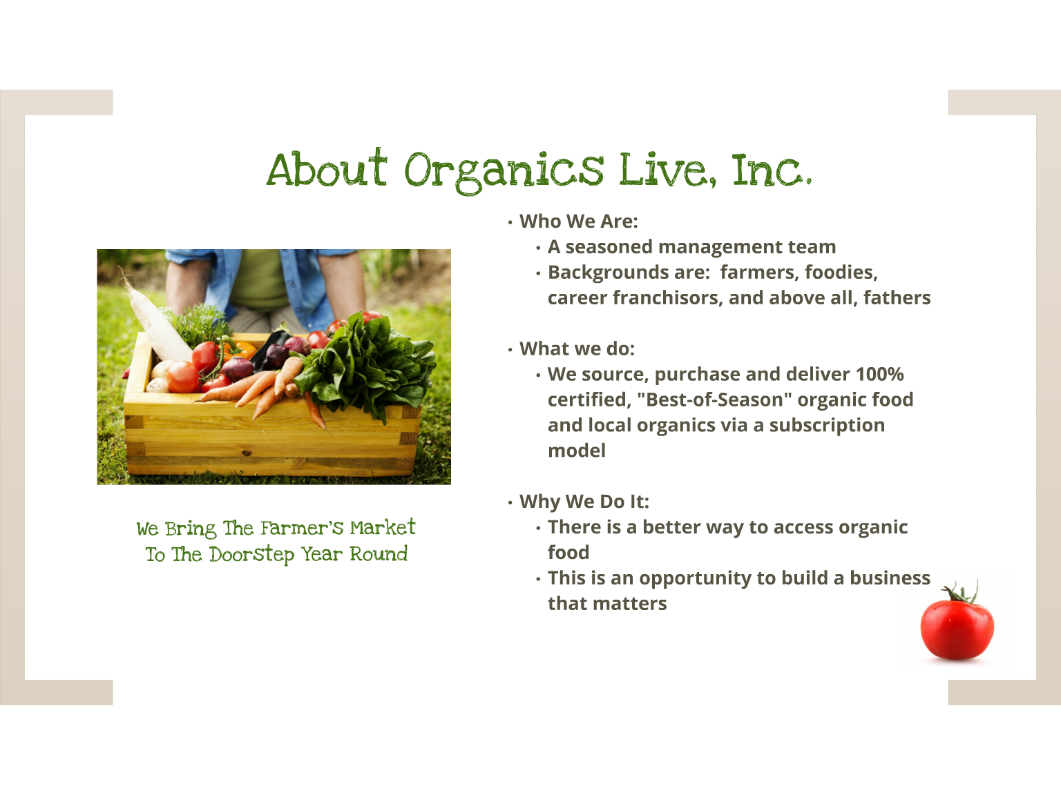 Franchise opportunity low investment - organic produce