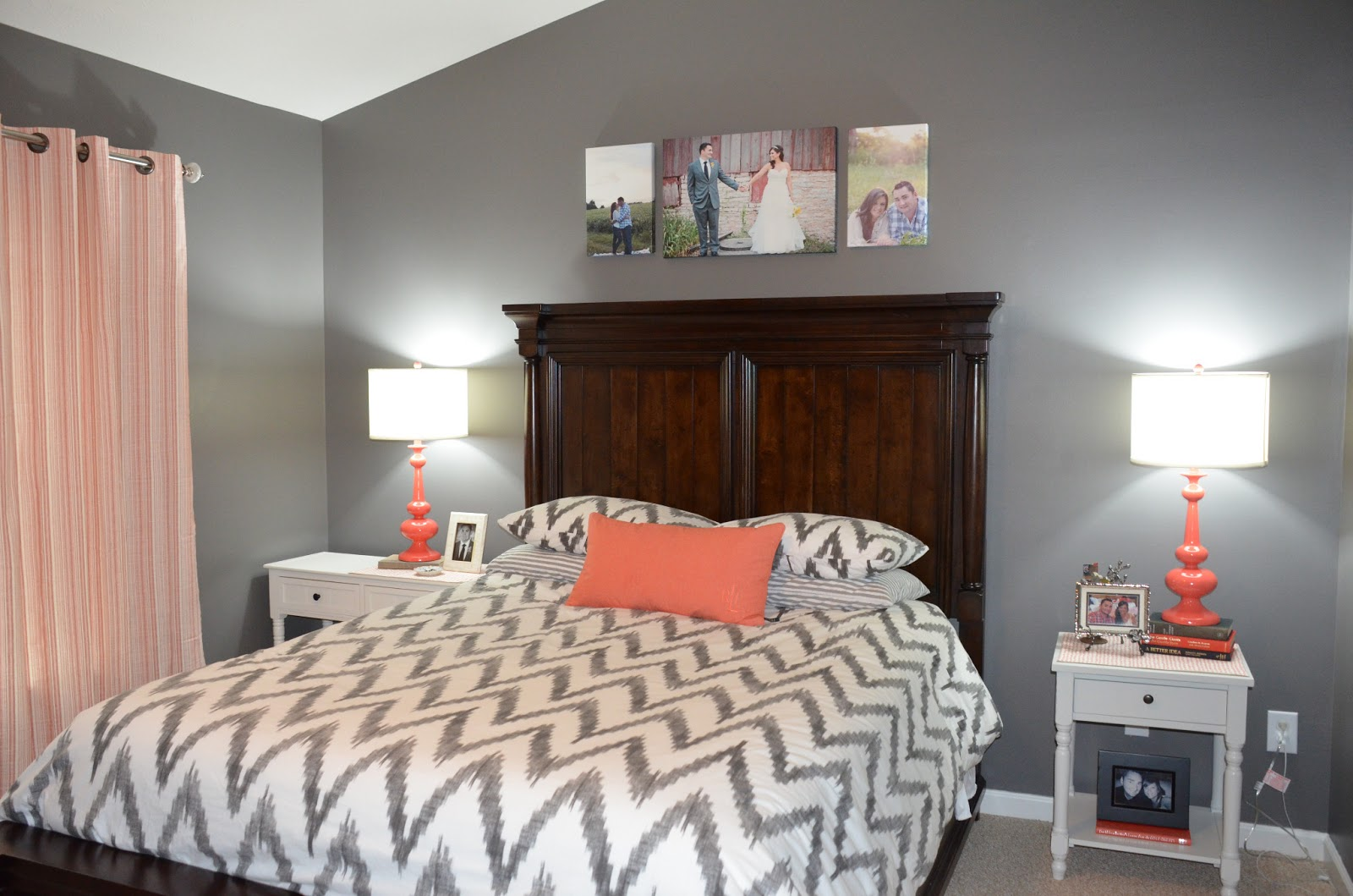 Jessica stout design coral gray master bedroom my home for Grey wall bedroom ideas