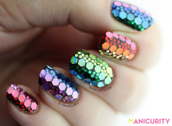 Manicurity | A Rainbow of Glitters - Hand-Placed Glitter Nail Art