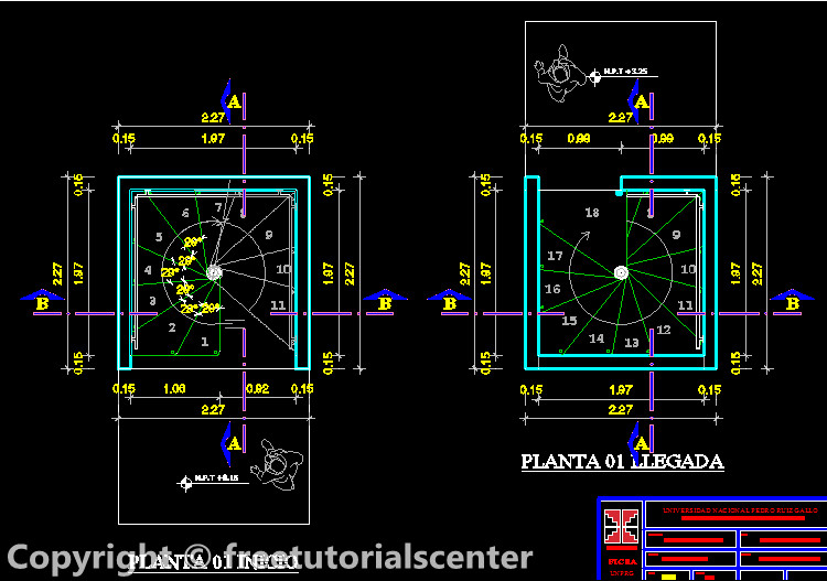Spiral stair full detail for a building Spiral stair cad