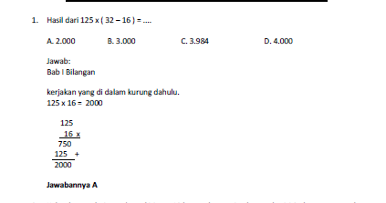 4 Soal Matematika Soal Latihan Un Matematika Sd 2014