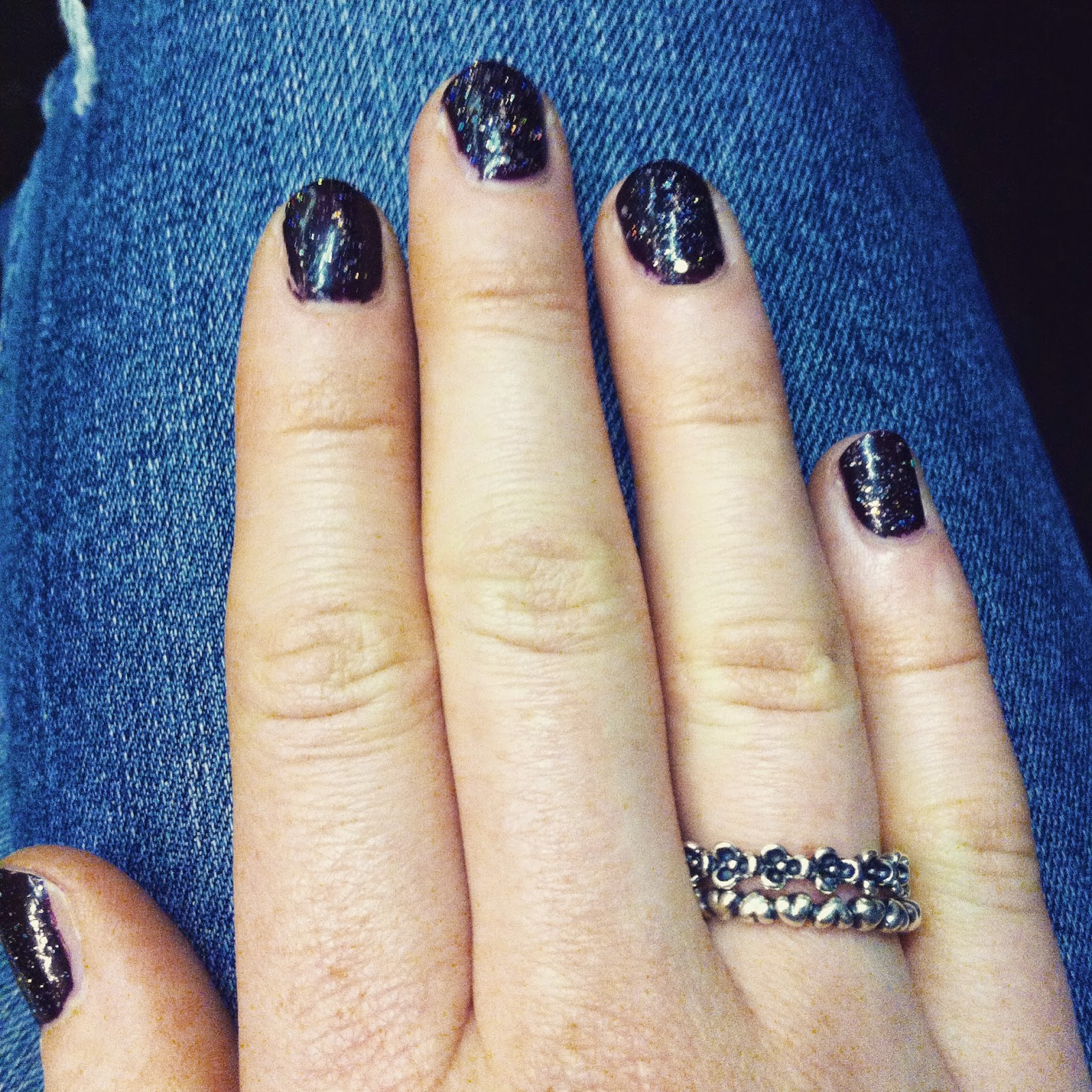 Barry M Nail Polish in Diamond Glitter and O.P.I Nail Polish in Lincoln Park After Dark