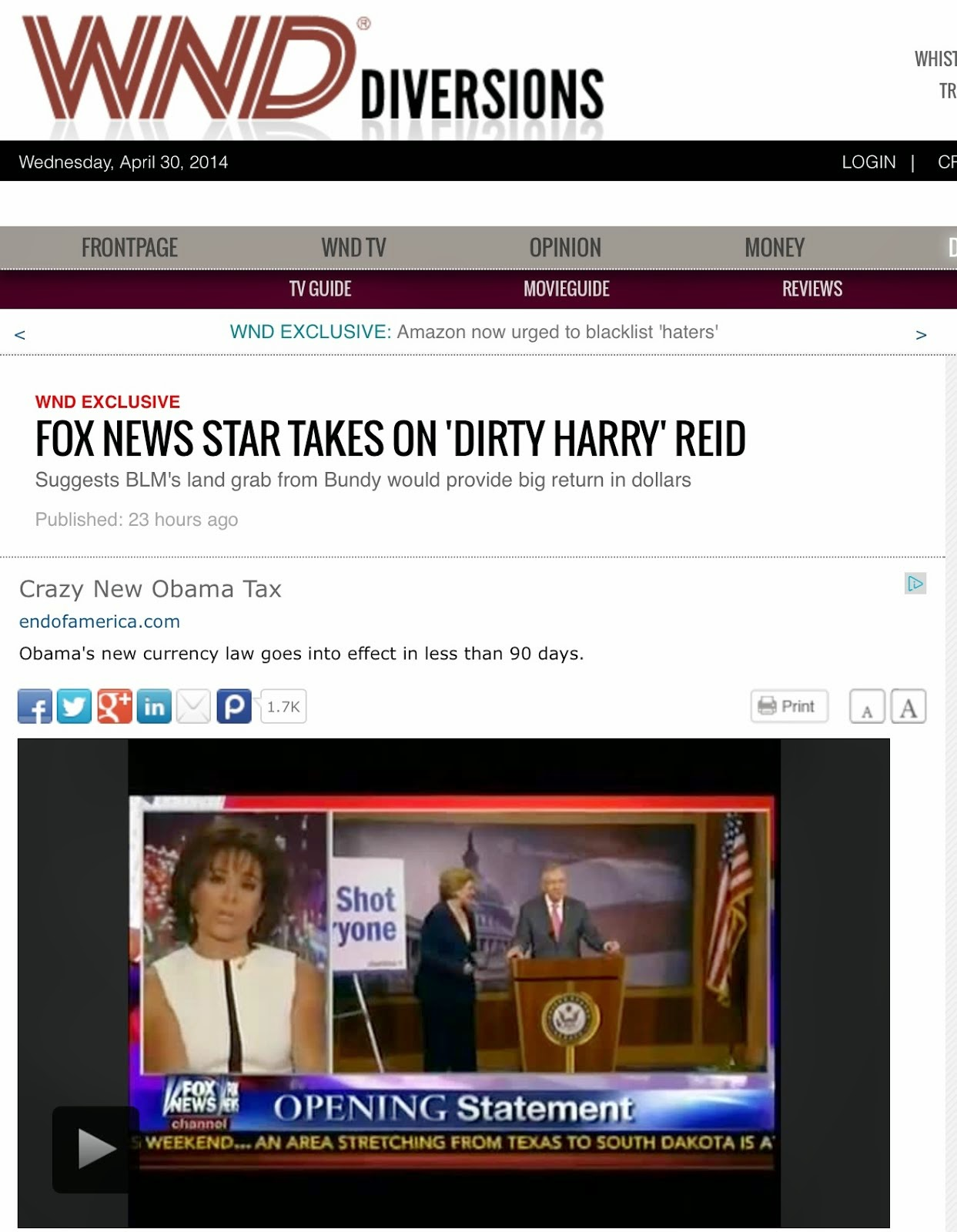April 30, 2014: Fox News star takes on 'Dirty Harry' Reid