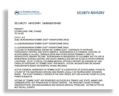 SCOPOLAMINE ~ Burundanga U.S. International Security Advisory